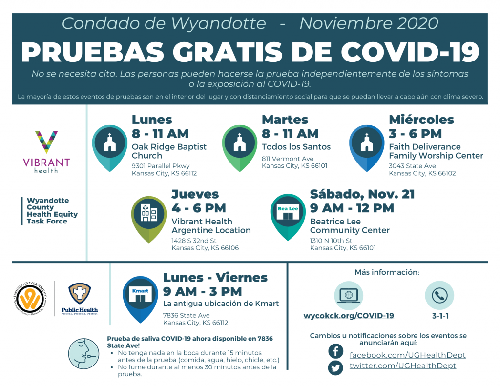 Free COVID testing locations in Spanish